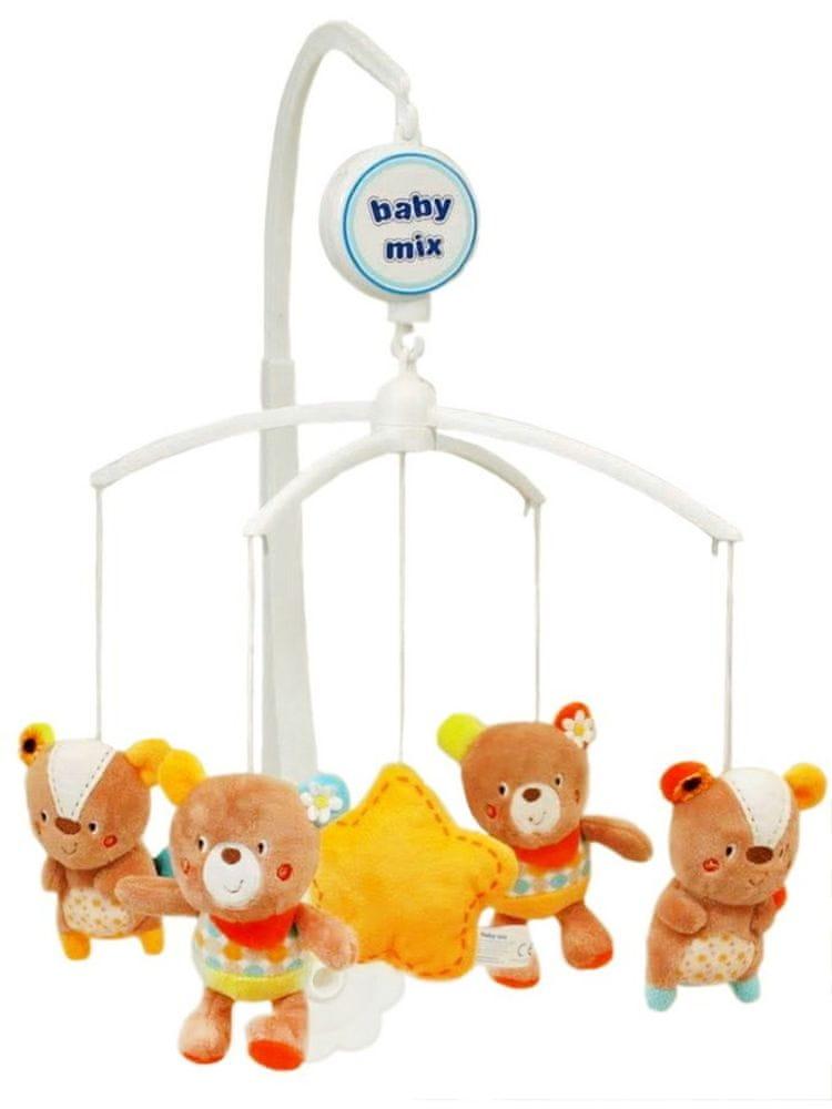 Baby Mix Kolotoč nad postýlku Baby Mix medvídci s kytičkou na oušku