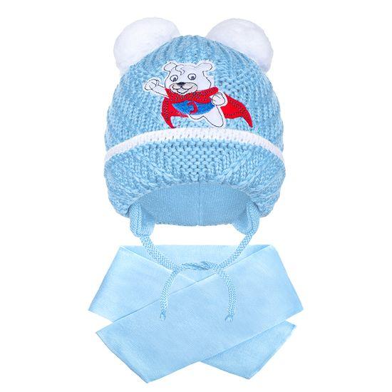 NEW BABY Téli gyermek sapka sállal New Baby maci világos kék