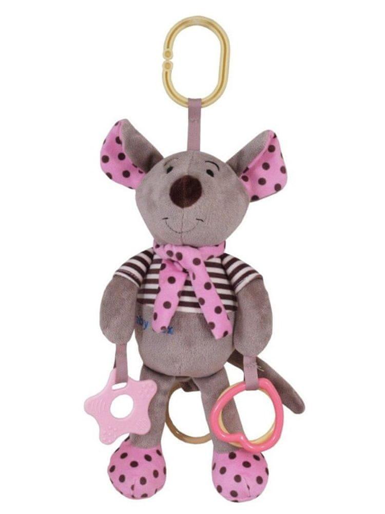 Baby Mix Plyšová hračka se zvukem Baby Mix Myška růžová