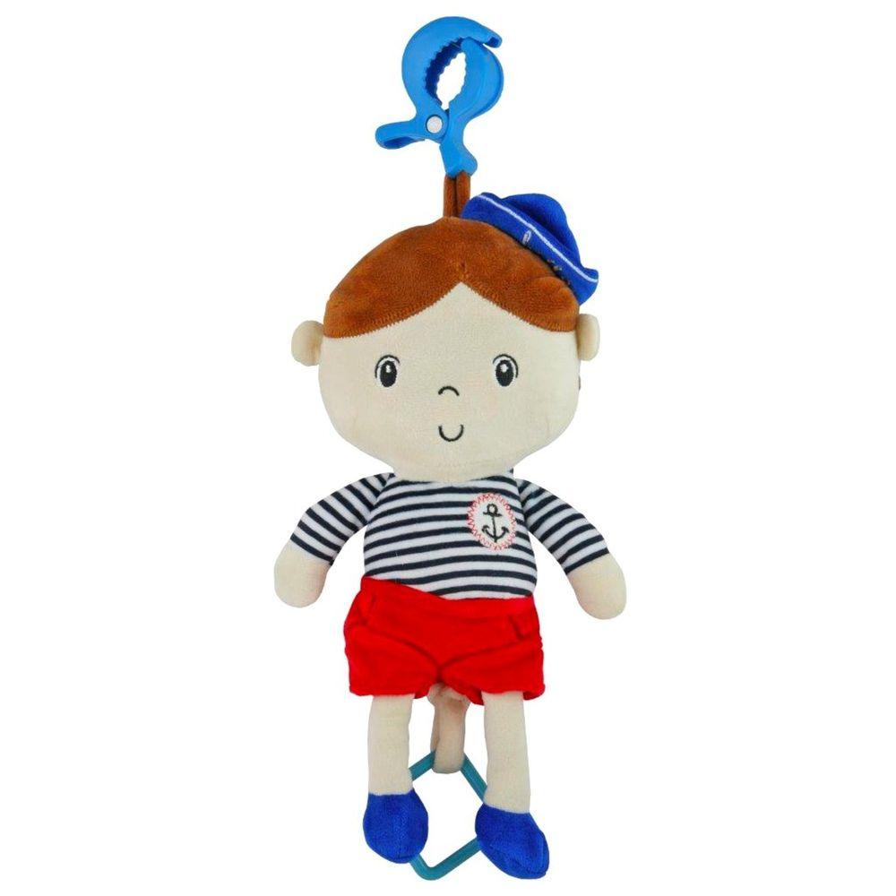 Baby Mix Edukační hrající plyšová panenka Baby Mix námořník kluk