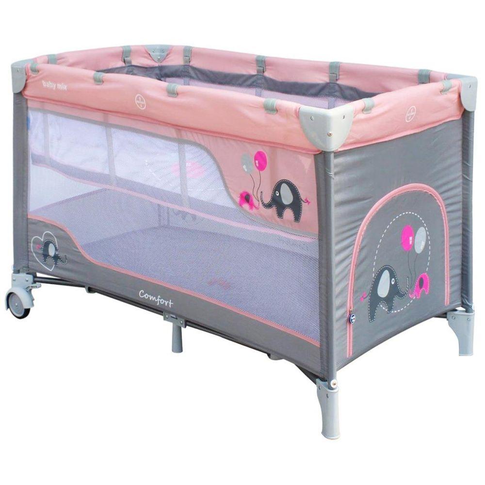 Baby Mix Dětská cestovní postýlka Baby Mix Sloni Pink
