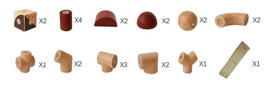 MAGPLAYER Magplayer dřevěná magnetická stavebnice II 24 ks