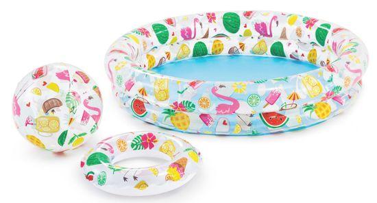 Intex 59460 Fruity set (bazen + plavalni obroč + napihljiva žoga)