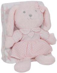 Interbaby koc Gwiazda z królikiem 80×110 różowy