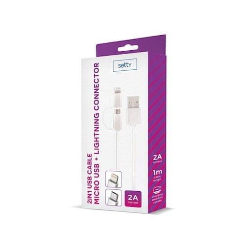 setty. Nylonowy kabel USB 2w1 (microUSB + Lightning), biały