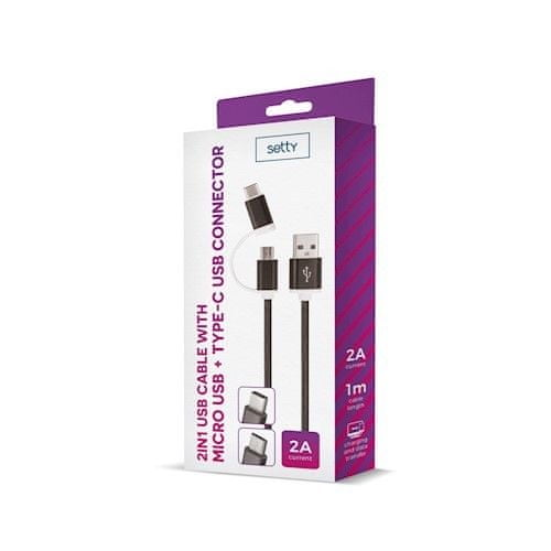setty. Nylonowy kabel USB 2w1 (microUSB + typ-C), czarny