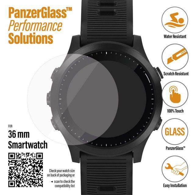 PanzerGlass SmartWatch pro různé typy hodinek, 36 mm Garmin Fenix 5S Plus/6/6S/6S Pro/6 Pro / Garmin Vivoactive 3 / Huawei Watch GTčiré (3608) - rozba