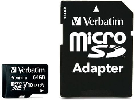Verbatim Premium microSDXC 64GB UHS-I V10 U1 + SD adaptér (44084)