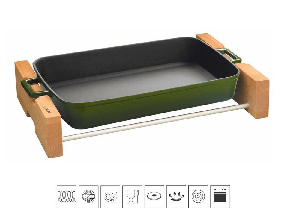 Lava Litinový pekáč 22x30cm s dřevěným podstavcem - zelený LVPTP2230K4G