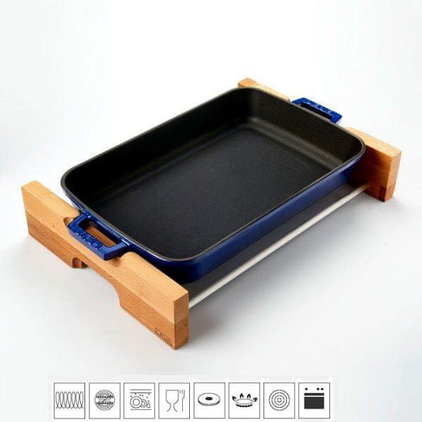 Lava Litinový pekáč 22x30cm s dřevěným podstavcem - modrý LVPTP2230K4B