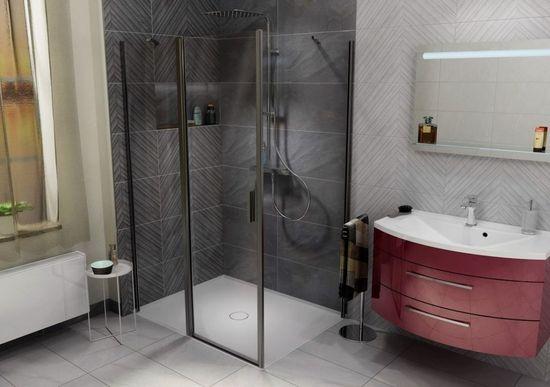 POLYSAN MIRAI sprchová vanička z litého mramoru, obdélník, levá, bílá