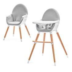 KinderKraft stolček za hranjenje FINI Gray, siv