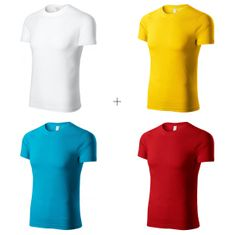 Piccolio 4x Dětské lehké tričko (Bílé + Žluté + Tyrkysové + Červené)