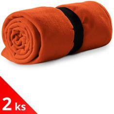 Piccolio 2x Oranžová Fleecová deka, 120x150cm