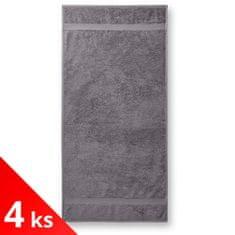 Malfini 4x Starostříbrný Bavlněný ručník hrubší, 50x100cm