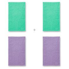 Malfini 4x Malý bavlněný ručník, 30x50cm (Mátový + Mátový + Levandulový + Levandulový)