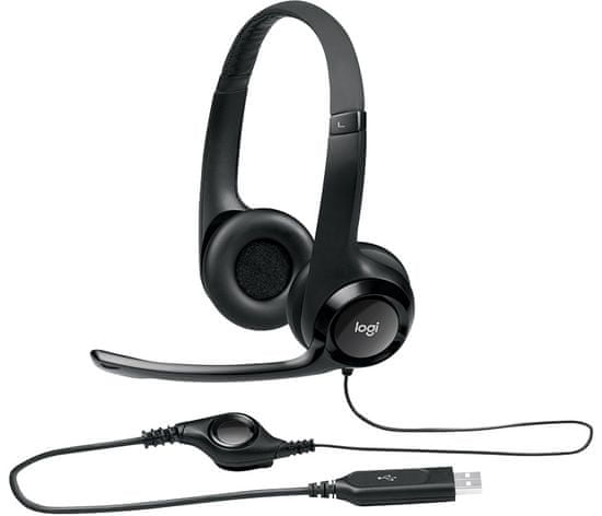 Logitech H390 slušalke z mikrofonom, črne