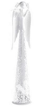 Country Rose anděl s flétnou, bílý 39 cm