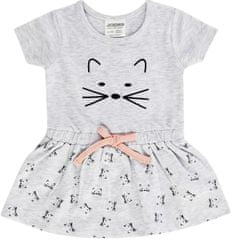 JACKY dievčenské šaty s krátkym rukávom 74, šedé