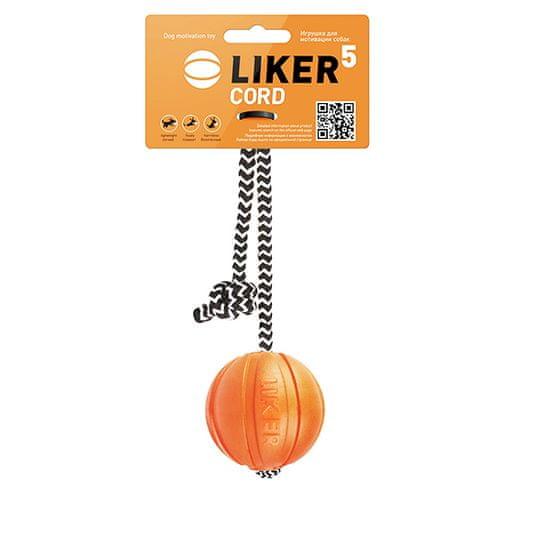 Liker Míček pro psy CORD M, 7 cm s provazem
