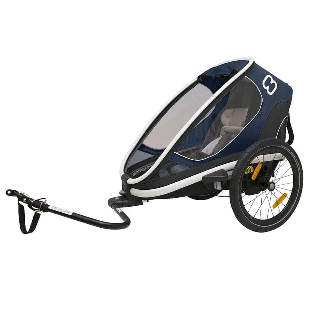 Hamax Outback ONE - jednomístný vozík za kolo vč. Ramena + kočárkový set navy blue polohovací