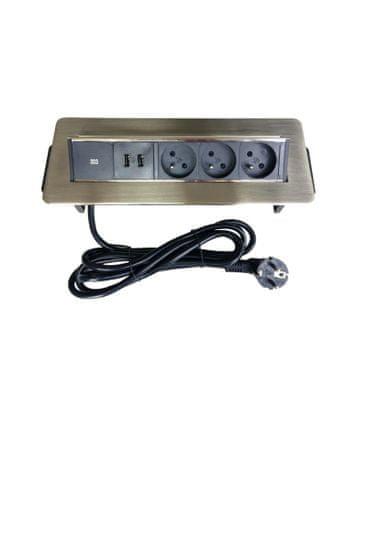 IN Výklopná lišta, 3 zásuvky + 2 USB