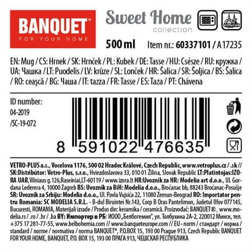 Banquet Home Coll keramička šalica, 500 ml, 4 komada