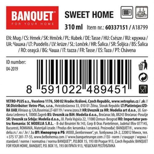 Banquet Sweet Home keramična skodelica, 310 ml, siva, 6 kosov