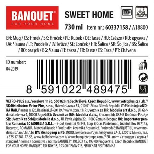 Banquet Sweet Home keramična jumbo skodelica, 730 ml, siva, 4 kosi