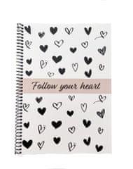 Muflon spiralni zvezek Follow your heart, črni, A5