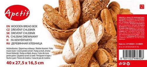 Apetit drvena posuda za kruh 40 × 27,5 × 16,5 cm