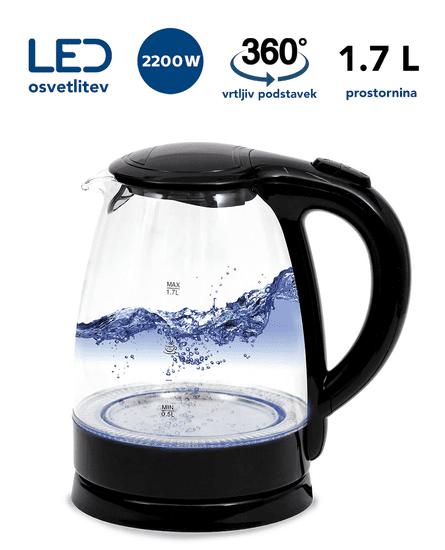 Platinet PEK760B grelnik vode, 1,7 l, 2200 W, LED osvetlitev, 360° vrtljiv podstavek, črn