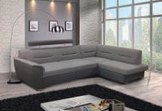 Nejlevnější nábytek Rohová sedačka WILUNA se záhlavníkem, pravá, látka světle šedá/tmavě šedá
