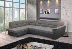 Nejlevnější nábytek Rohová sedačka WILUNA se záhlavníkem, levá, látka světle šedá/tmavě šedá