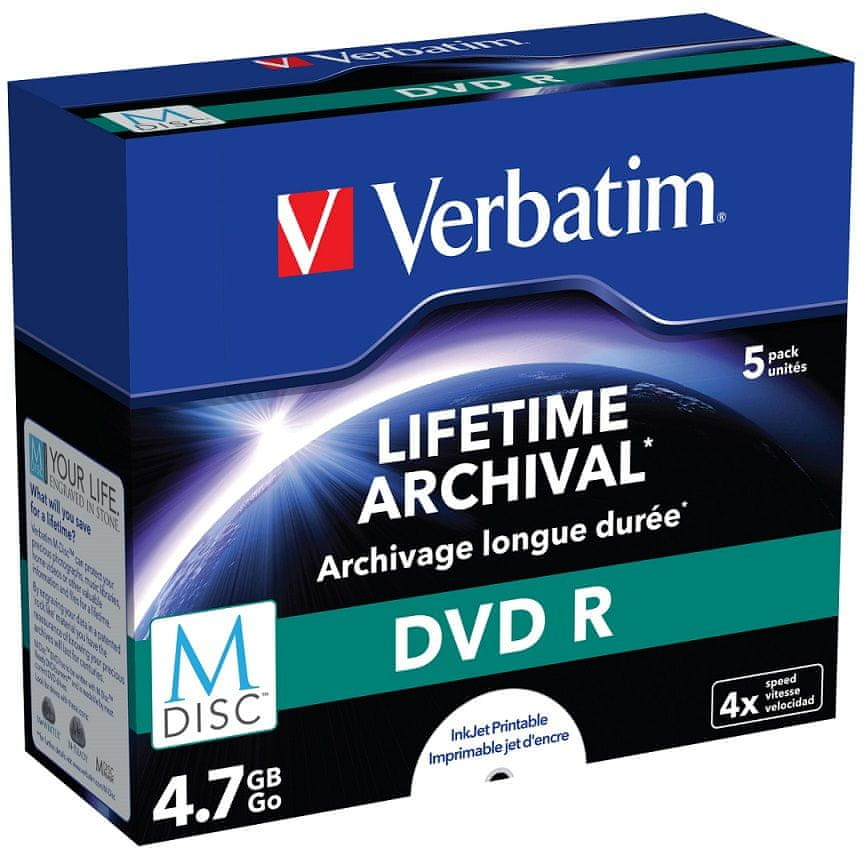 Verbatim M-DISC DVD-R 4,7GB, 4×, printable, jewel case 5 ks (43821)