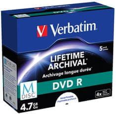 VERBATIM M-DISC DVD-R 4,7GB, 4×, printable, jewel case 5 ks (43821)