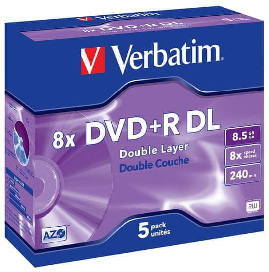 VERBATIM DVD+R DL AZO 8,5GB, 8×, jewel case 5 ks (43541)