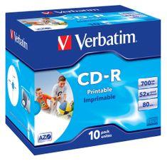 Verbatim CD-R AZO 700MB, 52×, printable, jewel case 10 ks (43325)