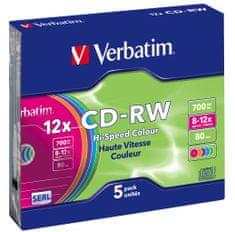 Verbatim CD-RW SERL 700MB, 12×, colour, slim case 5 ks (43167)