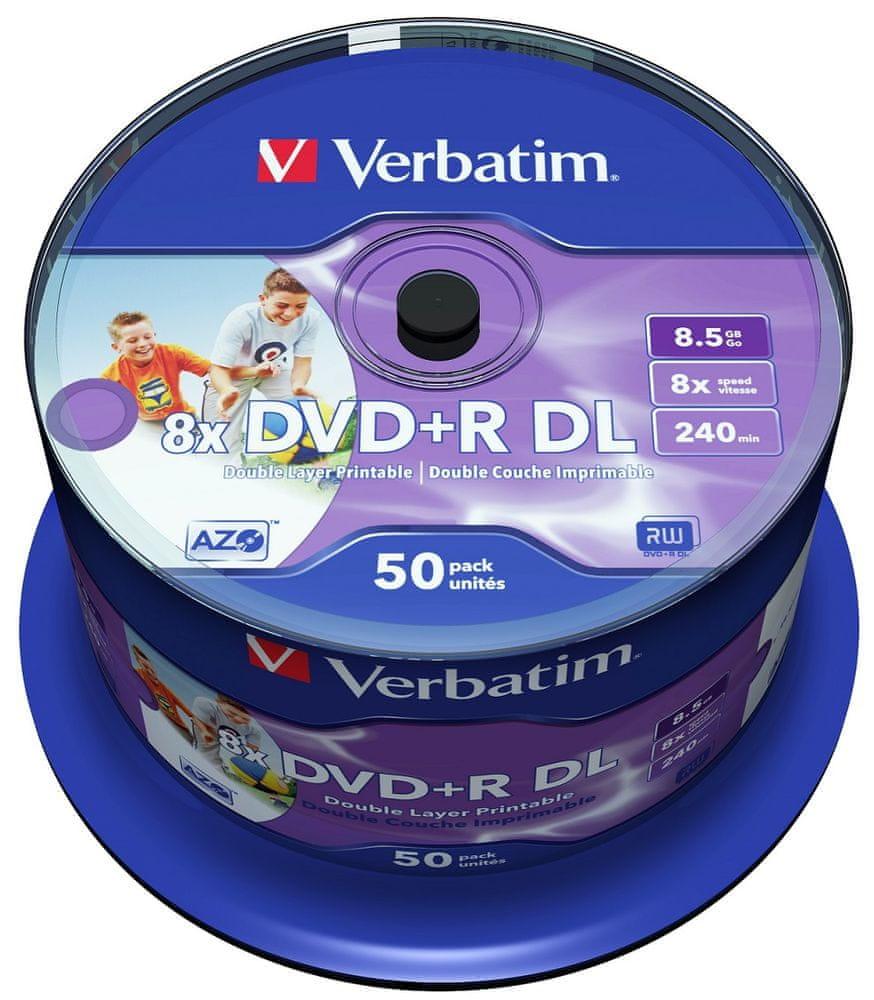 Verbatim DVD+R DL DataLifePlus 8,5GB, 8×, printable, spindle 50 ks (43703)