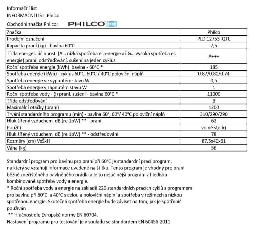 Philco pračka PLD 12753 QTL + bezplatný servis 36 měsíců - použité
