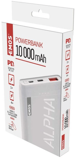 Emos Alpha Q10 prenosna baterija, 10.000 mAh, bela