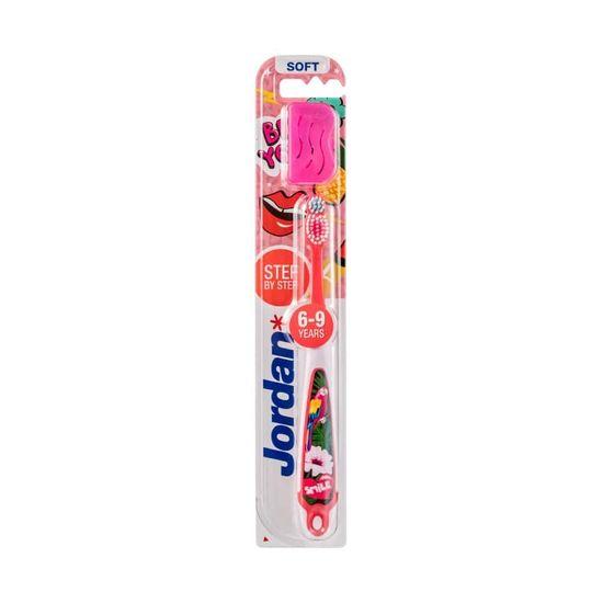 Jordan Step 3 Dětská zubní kartáček 6-9 let, růžová 1 ks