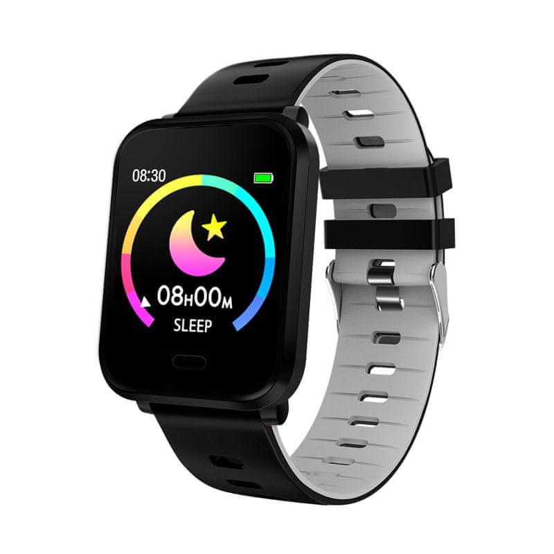 Printwell chytré hodinky S-002, černé+černo-šedý pásek