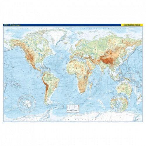 Svět nástěnná obecně zeměpisná mapa - nástěnná mapa