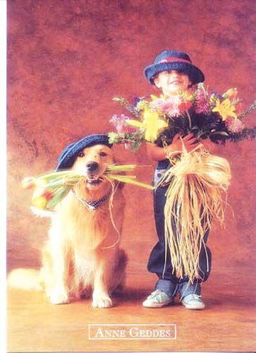 Anne Geddes Eredeti, ízléses és finom ajándékok a jó élet kedvelőinek, vagy univerzális ajándék örömszerzésre., kislány virággal és kutyával