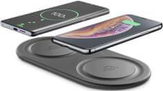 CellularLine Bezdrôtová nabíjacia stanica Wireless Fast Charger Dual s 2 × 10 W WIRELESSDUALPADK, čierna