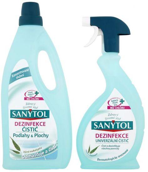 SANYTOL Dezinfekce čistič podlahy & plochy 1l + univerzální čistič 500 ml