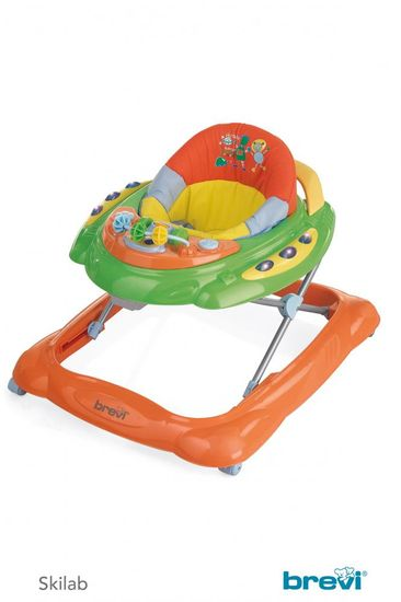 Brevi Otroški sprehajalnik SKYLAB z igralno konzolo, 238, zelena-oranžna