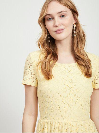 VILA Ženska obleka VISULACEY S / S DRESS / SU Mellow Yellow